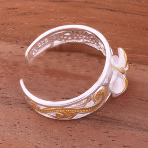 Hawaiian Scroll See Through 8mm Plumeria with Clear CZ Toe Ring
