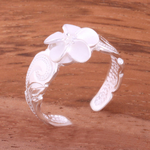 Hawaiian Scroll 8mm Plumeria with Clear CZ Cut Out Edge Toe Ring