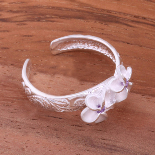 Hawaiian Scroll Two 6mm Plumeria with Clear CZ Smooth Edge Toe Ring