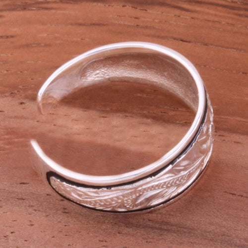 Hawaiian Scroll with Black Border Smooth Edge Toe Ring