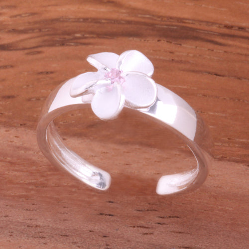 8mm Plumeria with Clear CZ Toe Ring