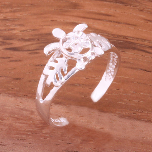 Honu and Plumeria with Clear CZ Toe Ring