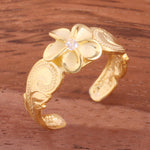 Hawaiian Scroll Yellow Gold Plated 8mm Plumeria with Clear CZ Cut Out Edge Toe Ring