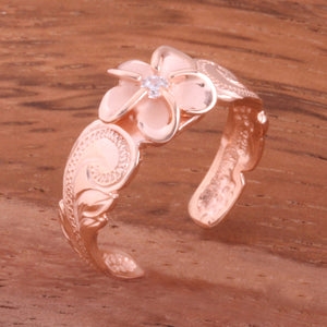 Hawaiian Scroll Pink Gold Plated 8mm Plumeria with Clear CZ Cut Out Edge Toe Ring