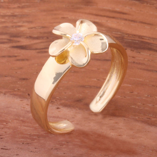 Yellow Gold Plated 8mm Plumeria with Clear CZ Toe Ring
