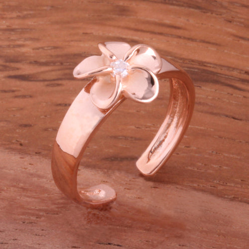 Pink Gold Plated 8mm Plumeria with Clear CZ Toe Ring