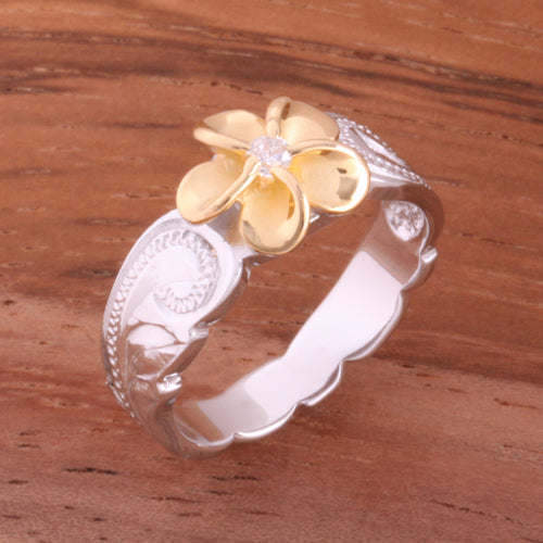 Hawaiian Scroll Two Tone Yellow Gold Plated 8mm Plumeria with Clear CZ Cut Out Edge Toe Ring