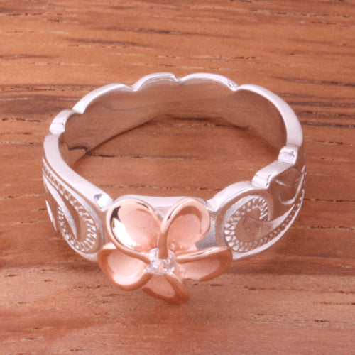 Hawaiian Scroll Two Tone Pink Gold Plated 8mm Plumeria with Clear CZ Cut Out Toe Edge Ring