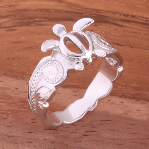 Hawaiian Scroll Honu Cut Out Edge Toe Ring