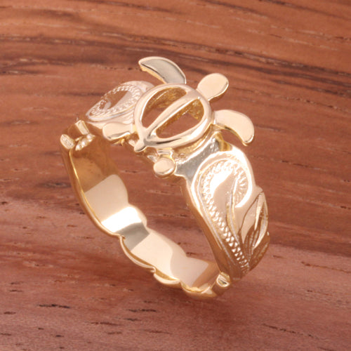 Hawaiian Scroll Yellow Gold Plated Honu Cut Out Edge Toe Ring