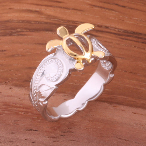 Hawaiian Scroll Two Tone Yellow Gold Plated Honu Cut Out Edge Toe Ring