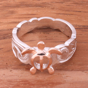 Hawaiian Scroll Two Tone Pink Gold Plated Honu Cut Out Edge Toe Ring