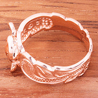 Hawaiian Scroll Pink Gold Plated Honu Cut Out Edge Toe Ring