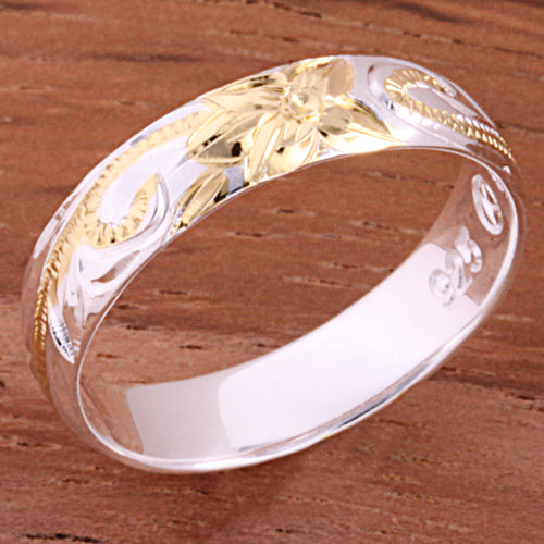 4mm Hawaiian Scroll Two Tone Yellow Gold Plated Smooth Edge Toe Ring