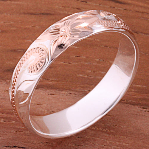 4mm Hawaiian Scroll Two Tone Pink Gold Plated Smooth Edge Toe Ring