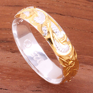 4mm Hawaiian Queen Scroll Two Tone Yellow Gold Plated Smooth Edge Toe Ring