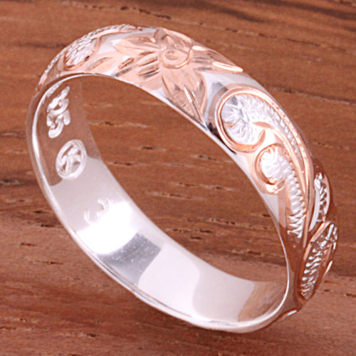 4mm Hawaiian Queen Scroll Two Tone Pink Gold Plated Smooth Edge Toe Ring