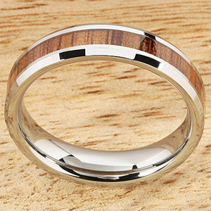 5mm Natural Hawaiian Koa Wood Inlaid Tungsten Beveled Edge Wedding Ring