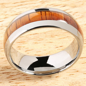 8mm Natural Hawaiian Koa Wood Inlaid Tungsten Oval Wedding Ring
