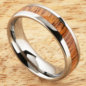 6mm Natural Hawaiian Koa Wood Inlaid Tungsten Oval Wedding Ring