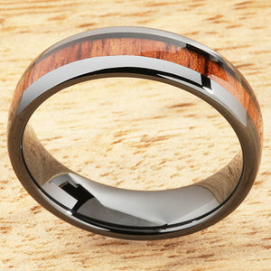6mm Natural Hawaiian Koa Wood Inlaid High Tech Black Ceramic Oval Wedding Ring