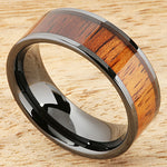 8mm Natural Hawaiian Koa Wood Inlaid High Tech Black Ceramic Flat Wedding Ring