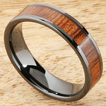 6mm Natural Hawaiian Koa Wood Inlaid High Tech Black Ceramic Flat Wedding Ring