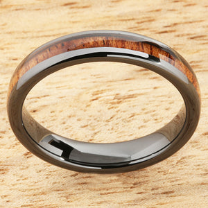 4mm Natural Hawaiian Koa Wood Inlaid High Tech Black Ceramic Oval Wedding Ring
