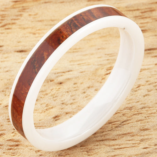 4mm Natural Hawaiian Koa Wood Inlaid High Tech White Ceramic Flat Wedding Ring