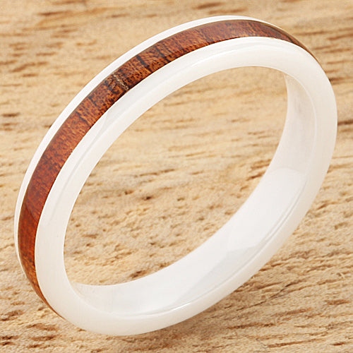 4mm Natural Hawaiian Koa Wood Inlaid High Tech White Ceramic Barrel Wedding Ring