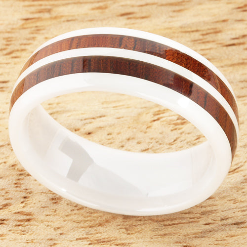 8mm Natural Hawaiian Koa Wood Inlaid High Tech White Ceramic Double Row Wedding Ring
