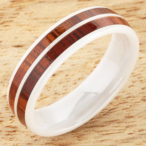 6mm Natural Hawaiian Koa Wood Inlaid High Tech White Ceramic Double Row Wedding Ring