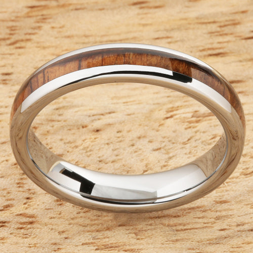 4mm Natural Hawaiian Koa Wood Inlaid Tungsten Oval Wedding Ring