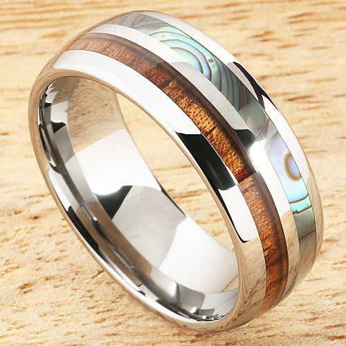 Koa Wood Abalone Tungsten Two Tone Wedding Ring Half Wood/Shell Barrel Shape Ring Set