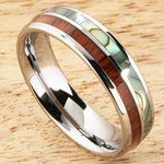Koa Wood Abalone Tungsten Two Tone Wedding Ring Half Wood/Shell 6mm Barrel Shape Hawaiian Ring