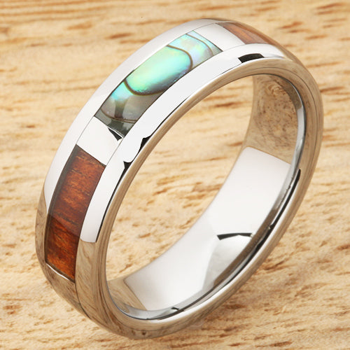 6mm Natural Hawaiian Koa Wood and Abalone Inlaid Tungsten Block Wedding Ring
