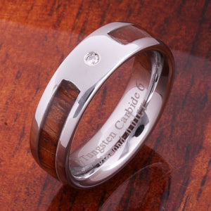 6mm Original Hawaiian Koa Wood with Diamond Inlaid Tungsten Oval Wedding Ring