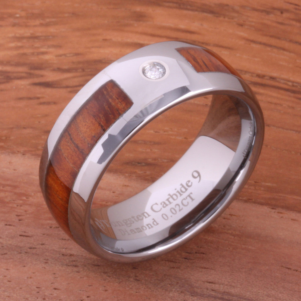 Diamond and Koa Wood Inlaid Tungsten Mens Wedding Ring Barrel Shape 8mm Hawaiian Ring