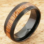 Black Tungsten Natural Hawaiian Koa Wood Inlaid Mens Wedding Ring Barrel Shape 8mm/6mm Set