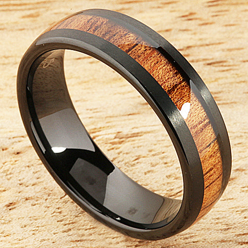 Black Tungsten Natural Hawaiian Koa Wood Wedding Ring Barrel Shape 6mm Hawaiian Ring
