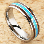 Koa Wood Opal Tungsten Wedding Ring Center/Opal 6mm Barrel Shape Hawaiian Ring