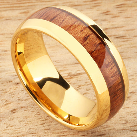 8mm Natural Hawaiian Koa Wood Inlaid Tungsten Oval Wedding Ring Yellow Gold Plated