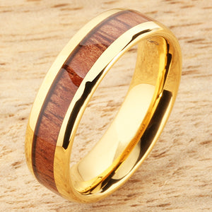 6mm Natural Hawaiian Koa Wood Inlaid Tungsten Oval Wedding Ring Yellow Gold Plated