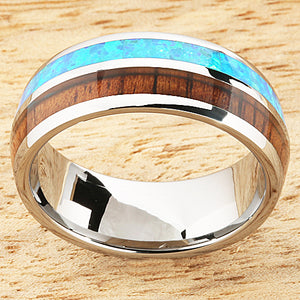 Opal Koa wood Ring Tungsten Two Tone Mens Wedding Ring Half Wood/Opal 8mm Barrel Shape Hawaiian Ring