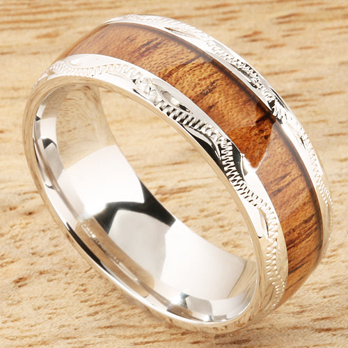 Sterling Silver Koa Wood Wedding Ring Hand-made Scroll Engraving 8mm