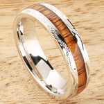 Sterling Silver Koa Wood Wedding Ring Hand-made Scroll Engraving 6mm