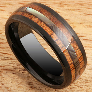 Koa Wood Ring  Abalone Inlay Black Tungsten Wedding Ring Central Abalone 8mm Barrel Shape