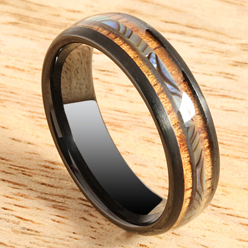 Koa Wood Ring  Abalone Inlay Black Tungsten Wedding Ring Central Abalone 6mm Barrel Shape