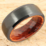 Black Tungsten Koa Wood Double Ring Brush Finished Beveled Edge 8mm