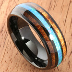 Black Tungsten Opal Koa Wood Ring Barrel Shape 8mm Band